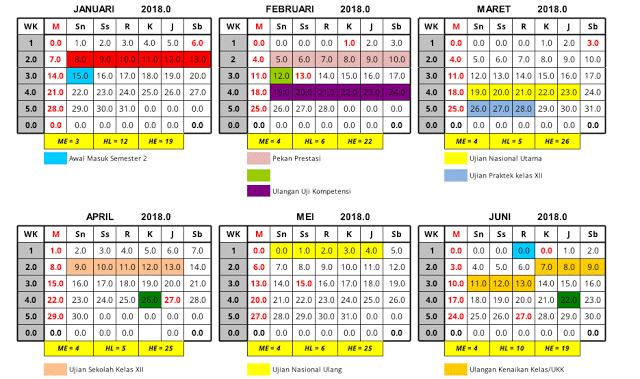 Aplikasi Excel Kalender Pendidikan Otomatis Terbaru Pendidikan Aplikasi Kalender