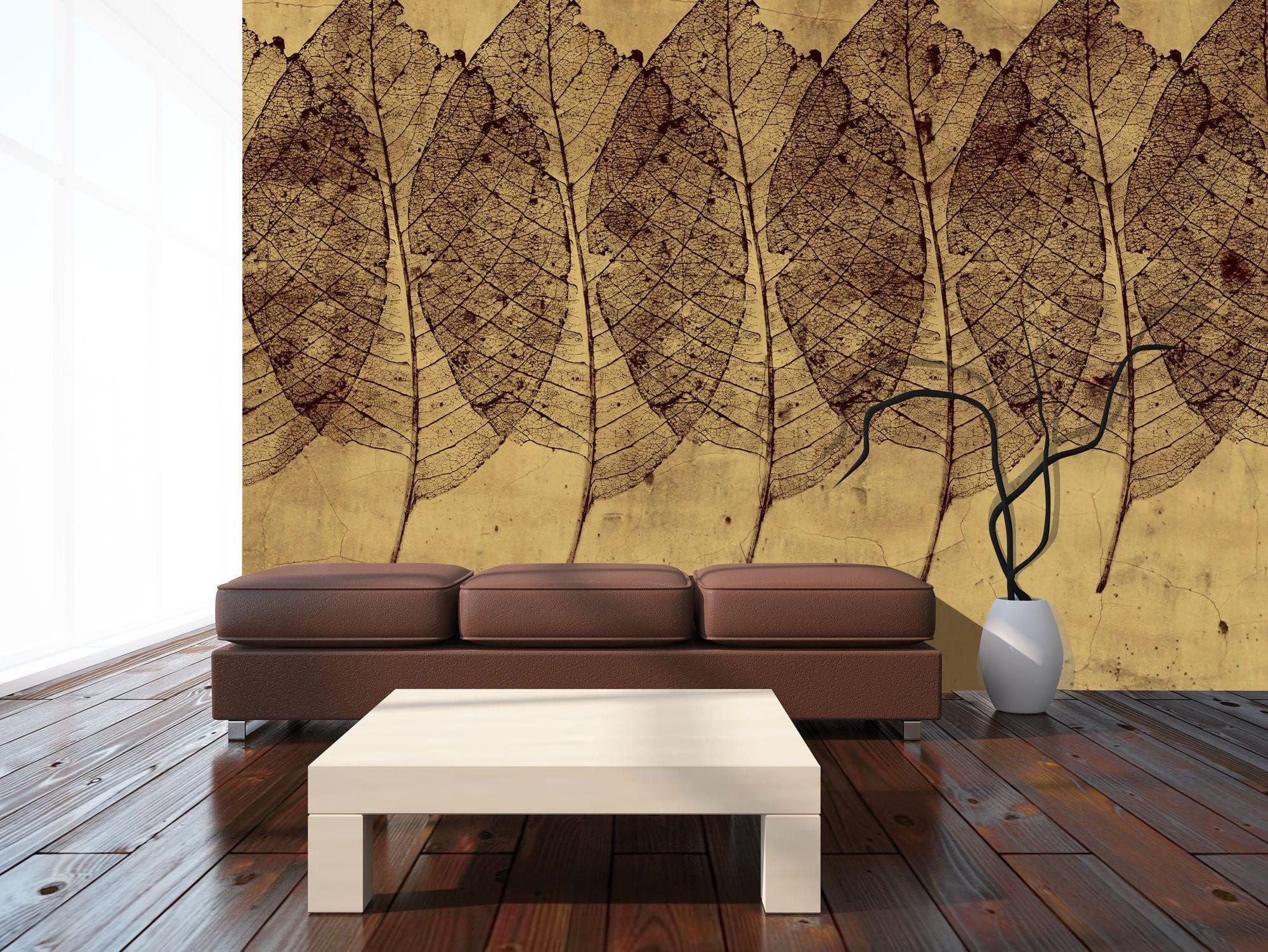 Papier Peint Motif Nature papier peint classique / motif nature / doré feuilles dorÉes