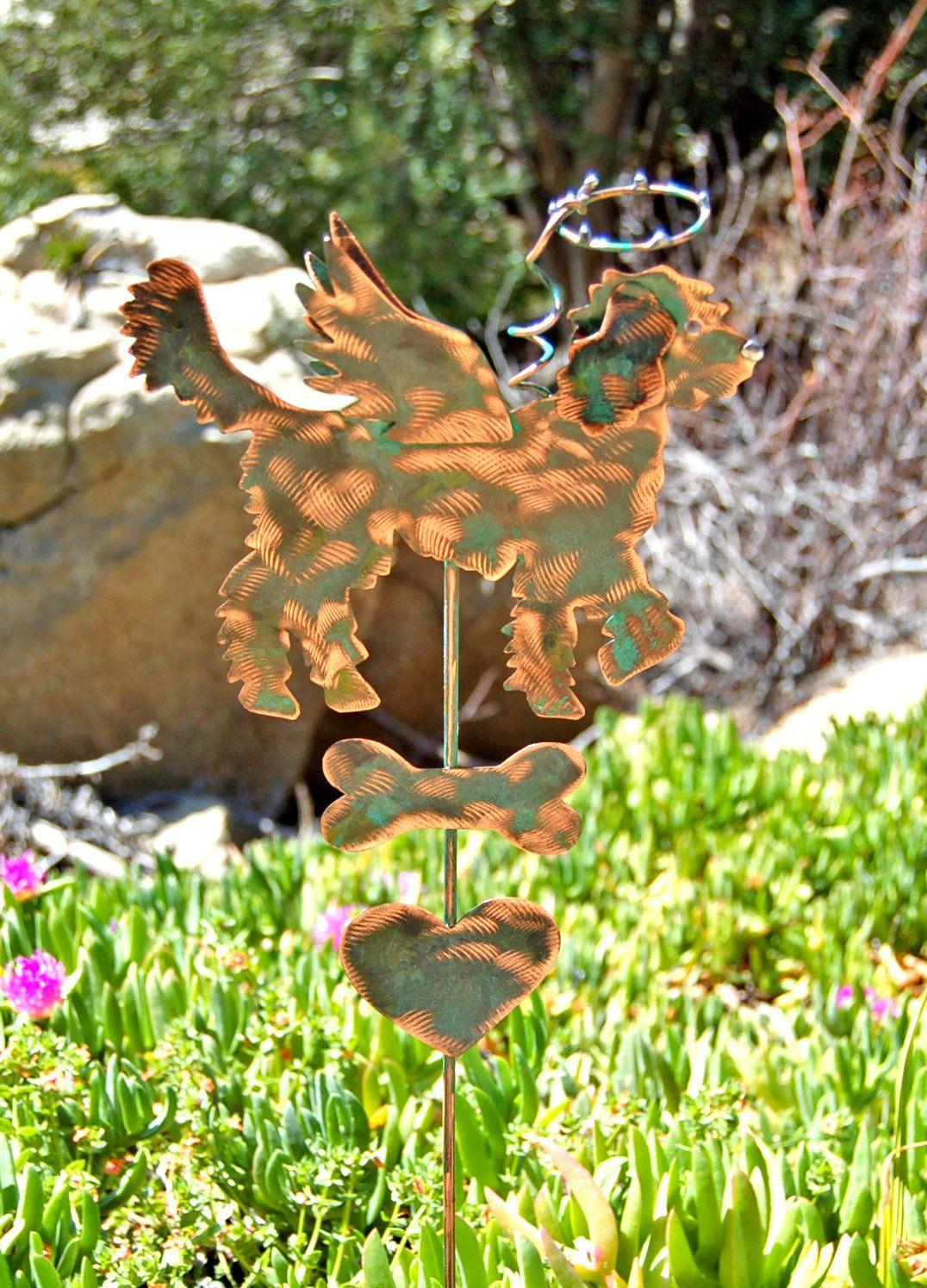 Golden Doodle Pet Memorial Metal Garden Art Stake, Copper Pet ...