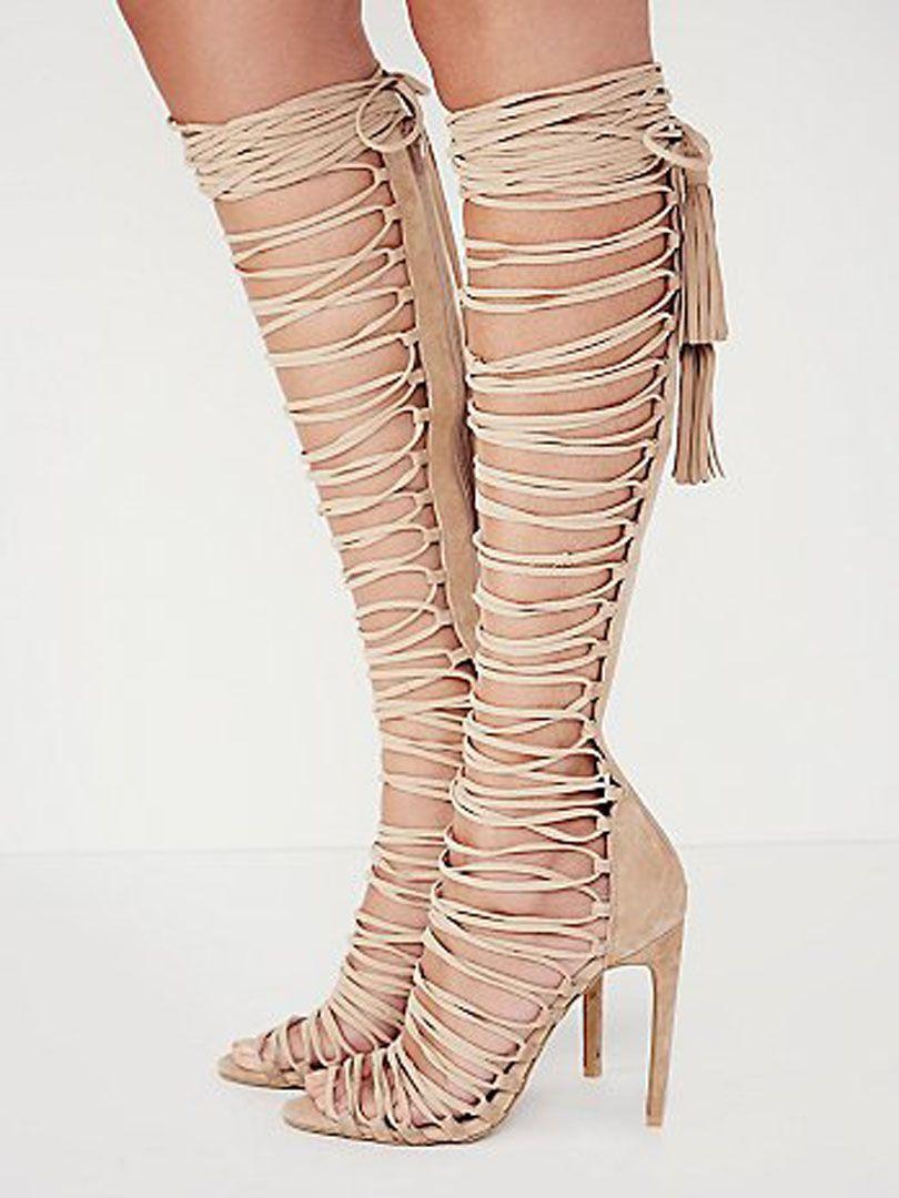 Beige Strappy Knee High Heeled Gladiator Sandals | Choies | Head ...