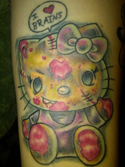 d172876441618 zombie tattoo | Hello Kitty cute zombie weird tattoo | Hello Kitty ...
