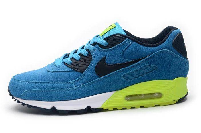 low priced f19a6 61025 Nike Air Max 90 Vert Noir Bleu Chaussures,