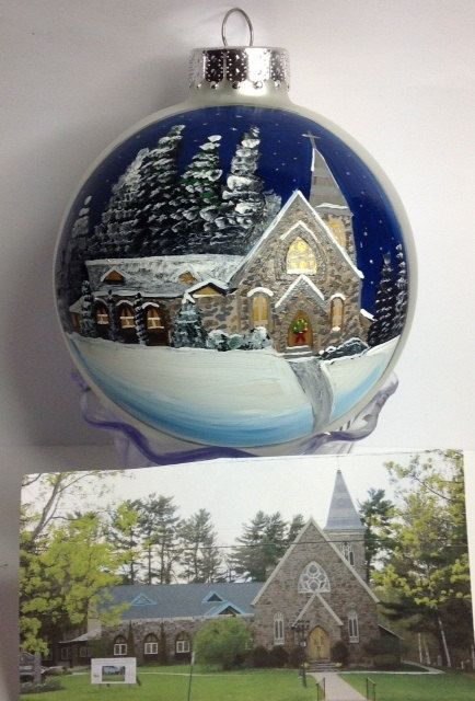 Church & ornament - how fun if you have a lovely building to paint.