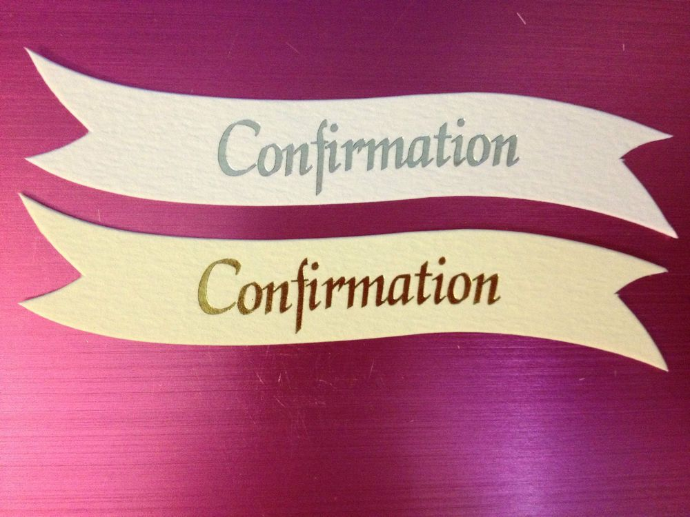 10 SILVER OR GOLD CONFIRMATION RELIGIOUS BANNER CARD MAKING EMBELLISHMENTS