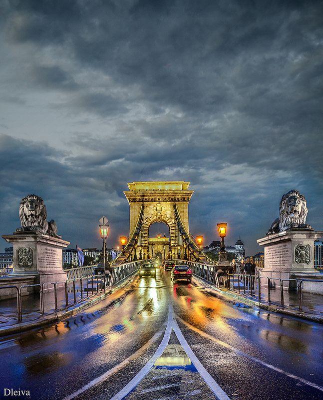 Bajo La Lluvia En El Puente De Las Cadenas Budapest Budapest Places To Travel Budapest Hungary