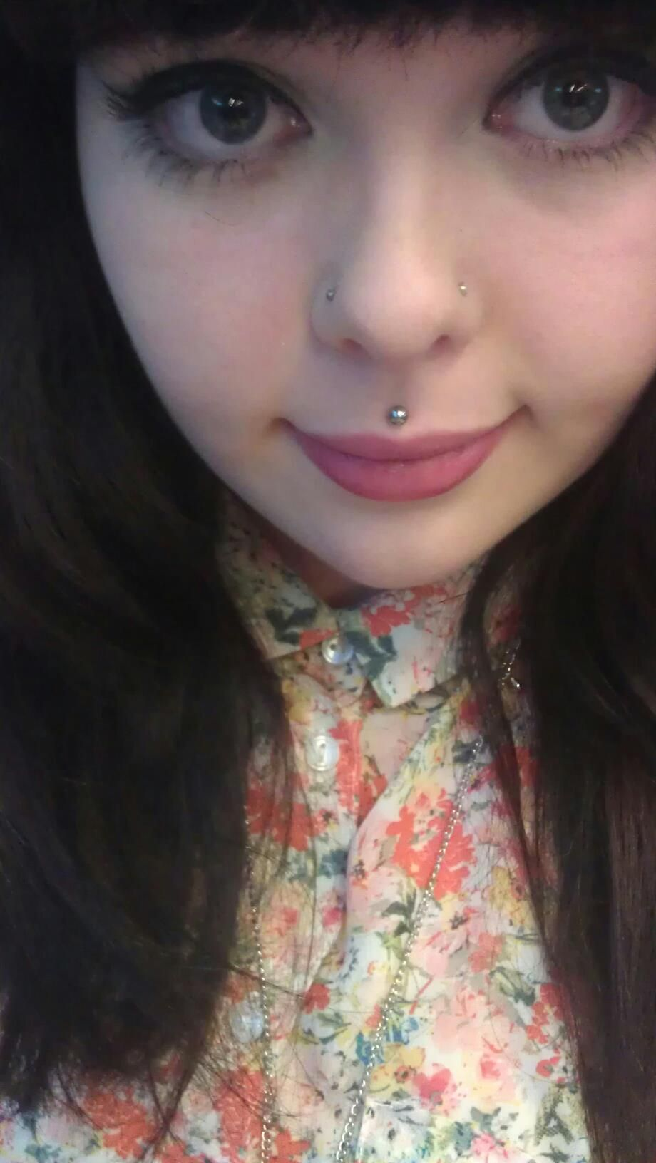 Nose piercing hole scar  double nose piercing and Medusa piercing done between the age of