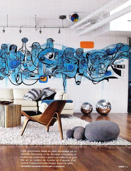 Coolest Graffiti In Lounge Interior Wall Design Wall Design Interior