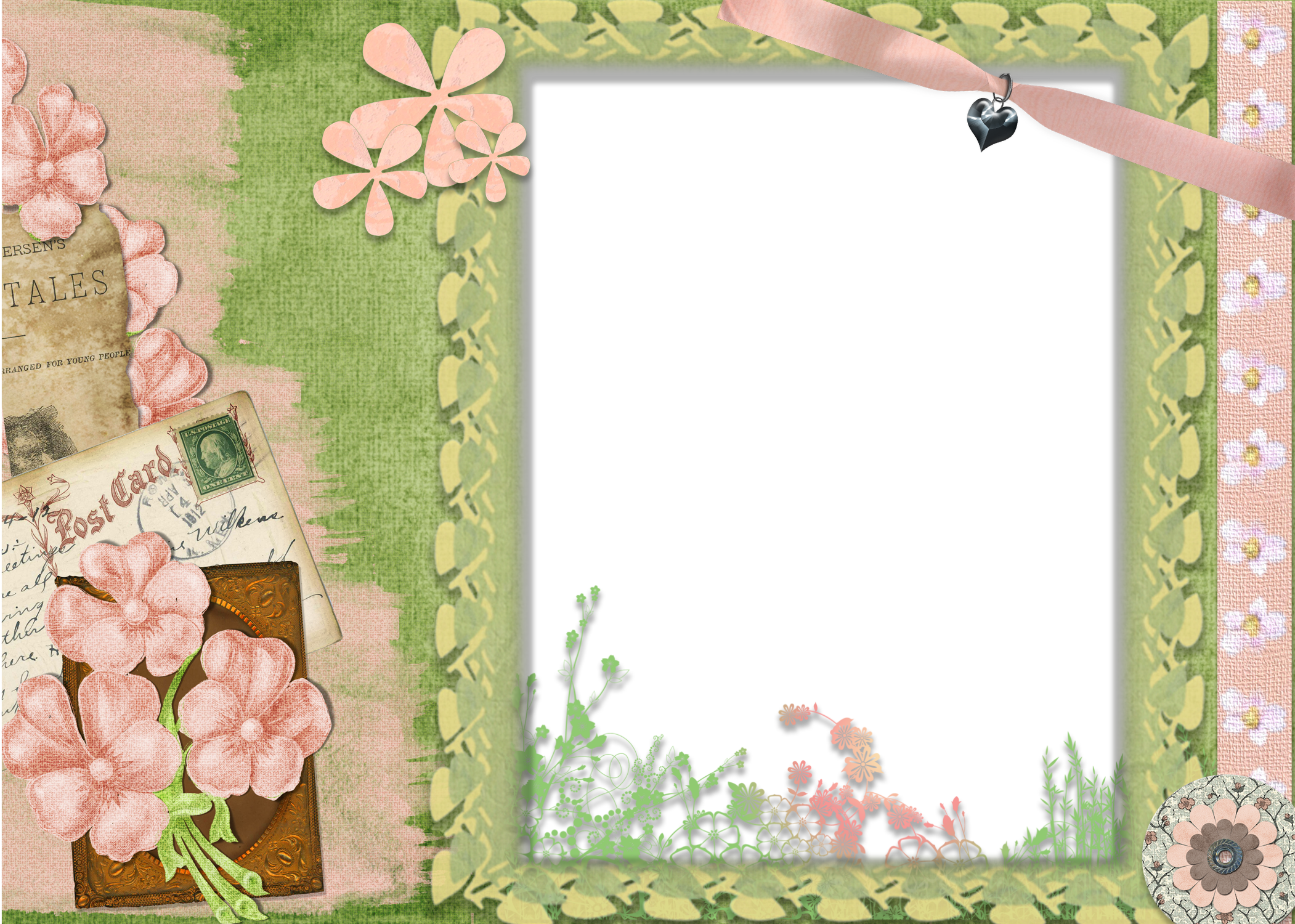 Cute pink and green transparent frame floral pinterest scrapbook cute pink and green transparent frame jeuxipadfo Images
