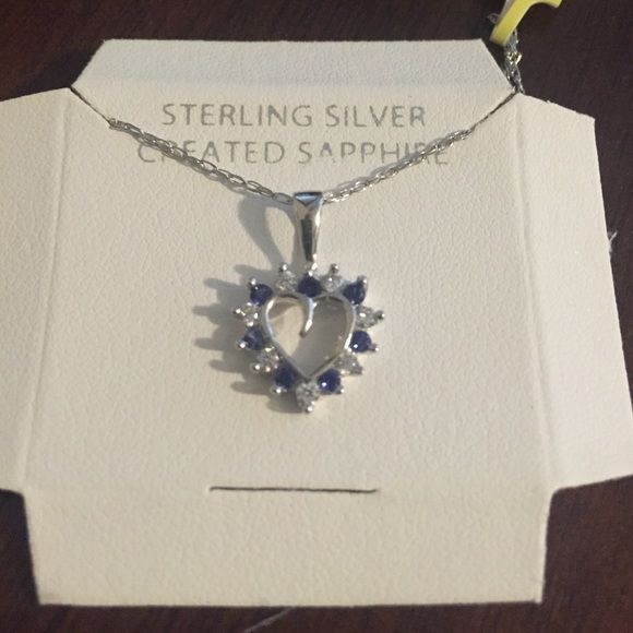 Sterling silver heart necklace Sterling silver created blue sapphire heart pendant necklace. Jewelry Necklaces