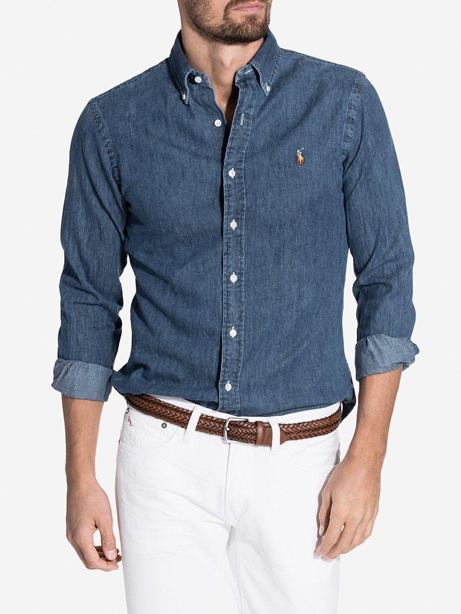 Slim Fit Denim Shirt   Lo life   Denim shirt men, Stylish mens ... 3029a3241bb5