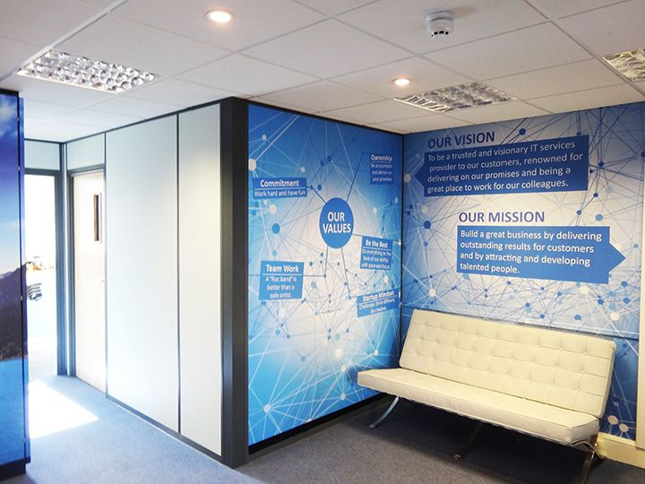 Office wall graphics and office branding with for Environmental graphics wall mural