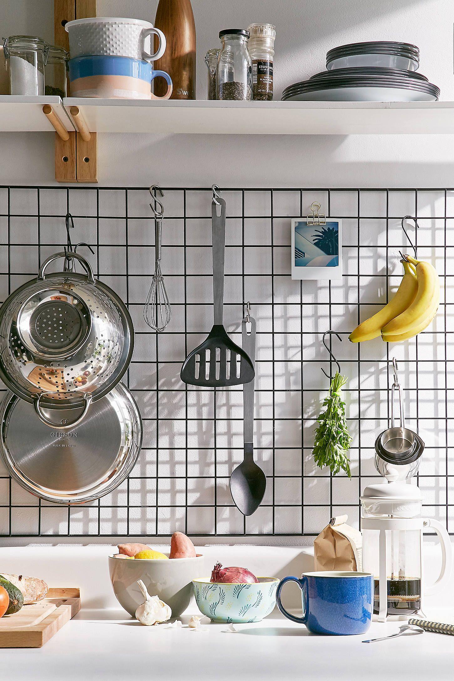 wire wall grid shelf kitchen wall storage kitchen utensil storage home decor kitchen on kitchen decor wall ideas id=50736