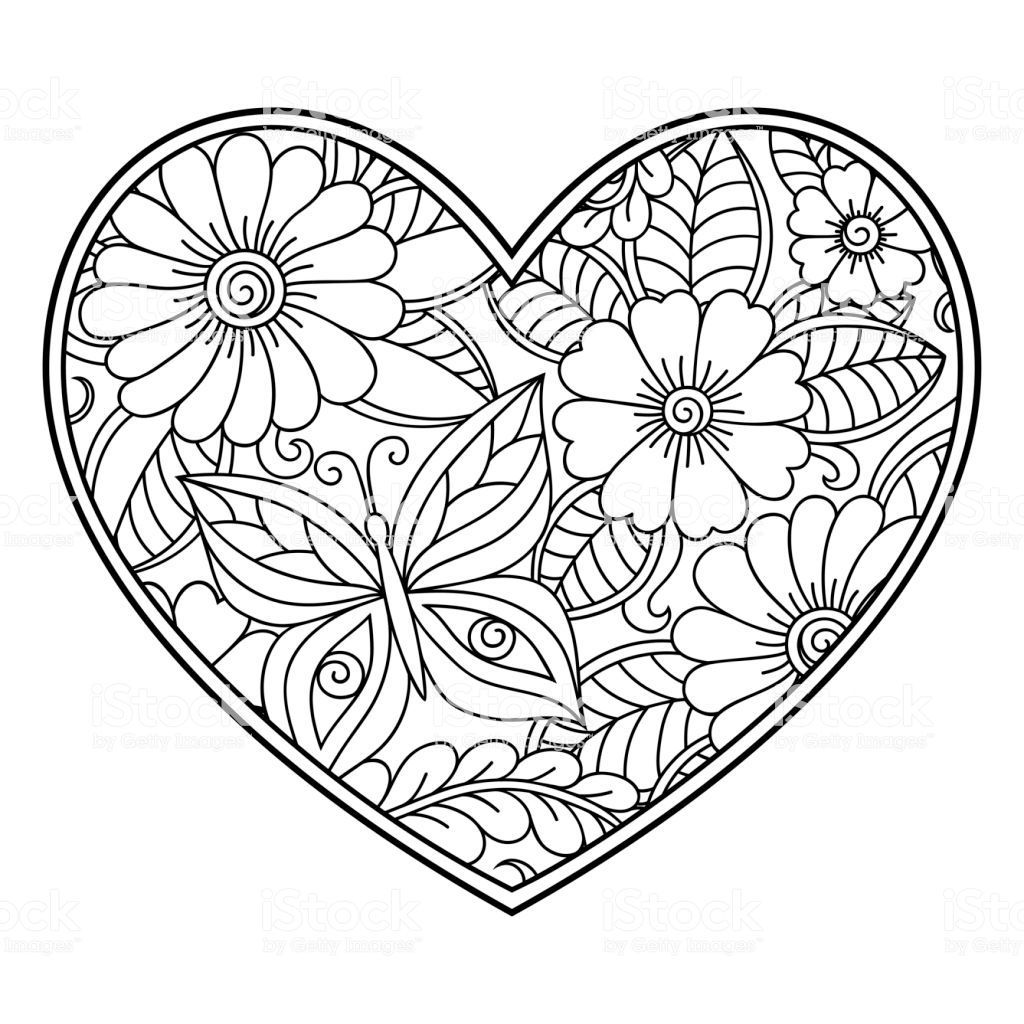 Mehndi flower pattern in form of heart with lotus for
