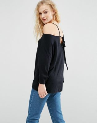 897574c36d8 ASOS Sweater with Cold Shoulder and Tie Back at asos.com