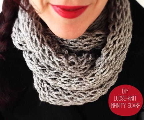 Devise Create Concoct Diy Loose Knit Infinity Scarf Knitting