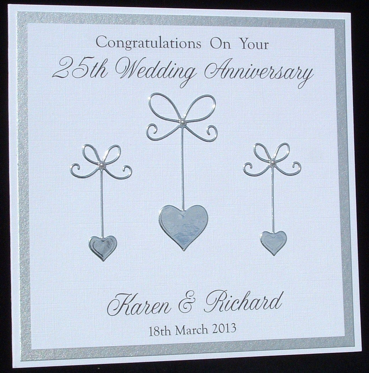 Personalised Card 25th Anniversary Card Silver Wedding Etsy Wedding Anniversary Cards Anniversary Cards Handmade Silver Wedding Anniversary