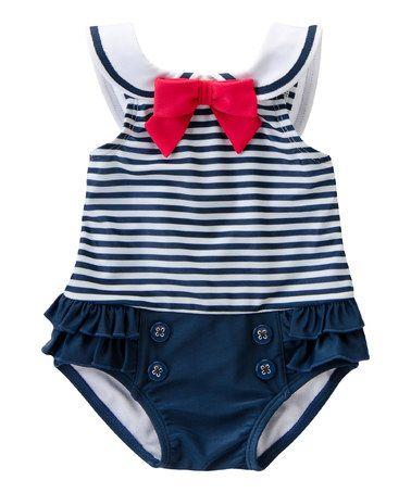 Love this Navy Stripe Nautical One-Piece - Infant on #zulily! #zulilyfinds