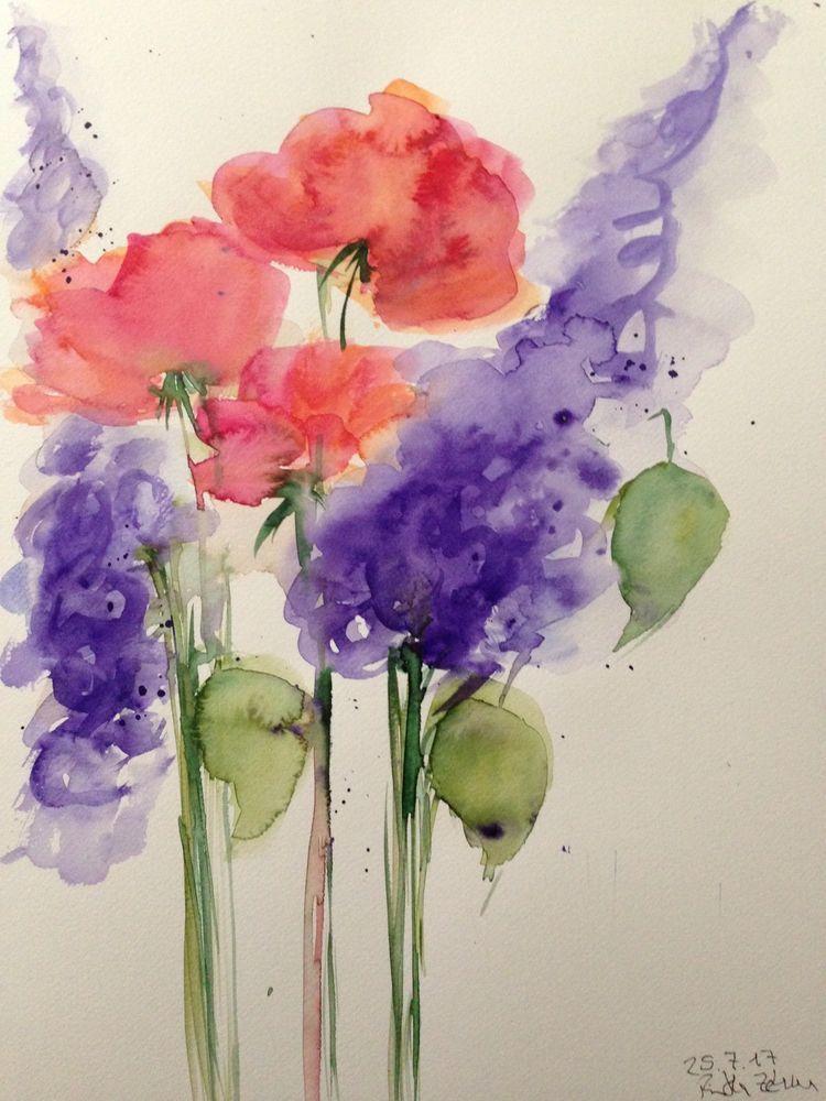 Aquarell Bild Wasserfarben Picture Blumen Flowers Mit Bildern