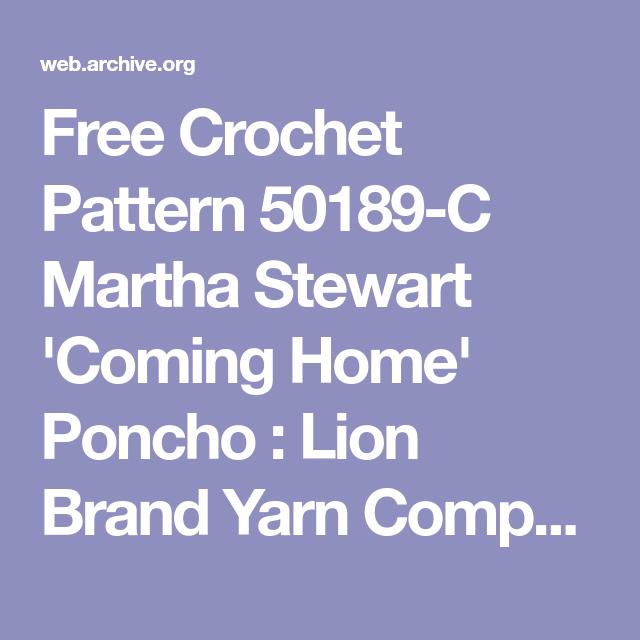 Free Crochet Pattern 50189-C Martha Stewart \'Coming Home\' Poncho ...