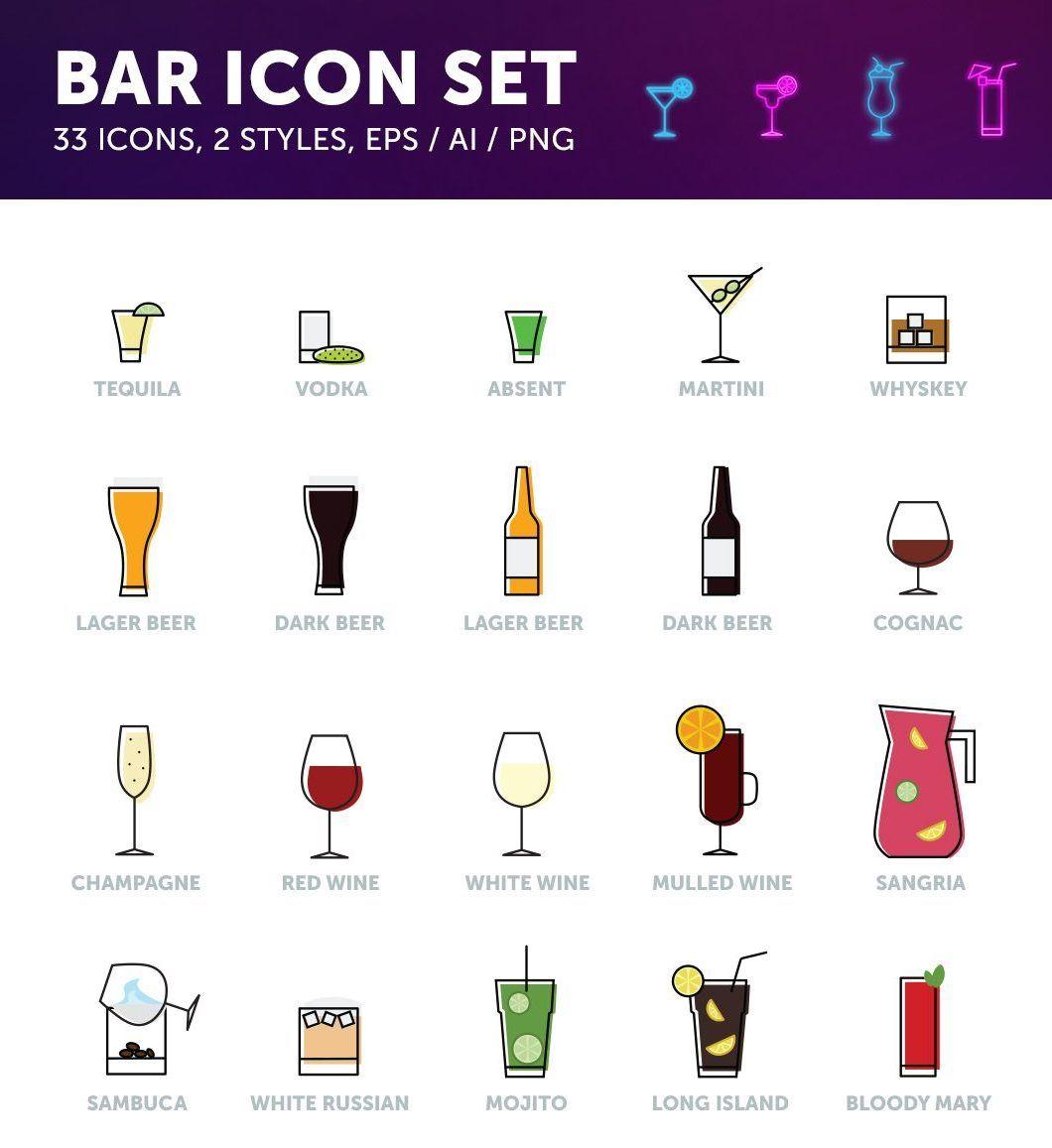Pack iconos de bebidas v1 | Bebida, Conjunto de iconos y Plantillas web