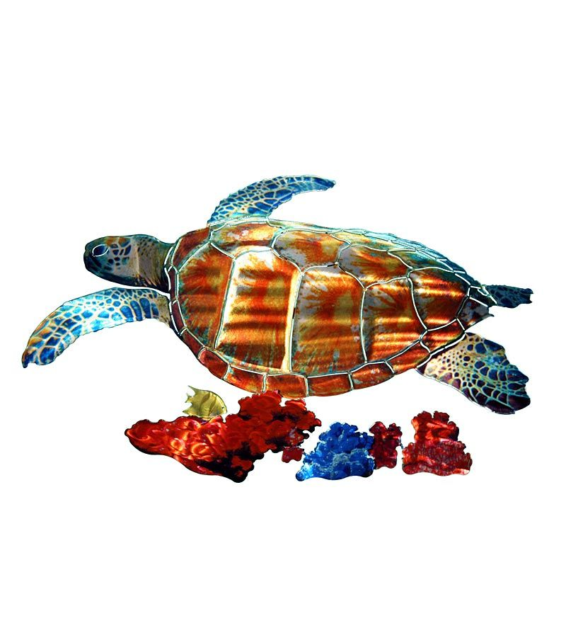Sea Turtle Reflective Metal Wall Sculpture | Dental office decor ...