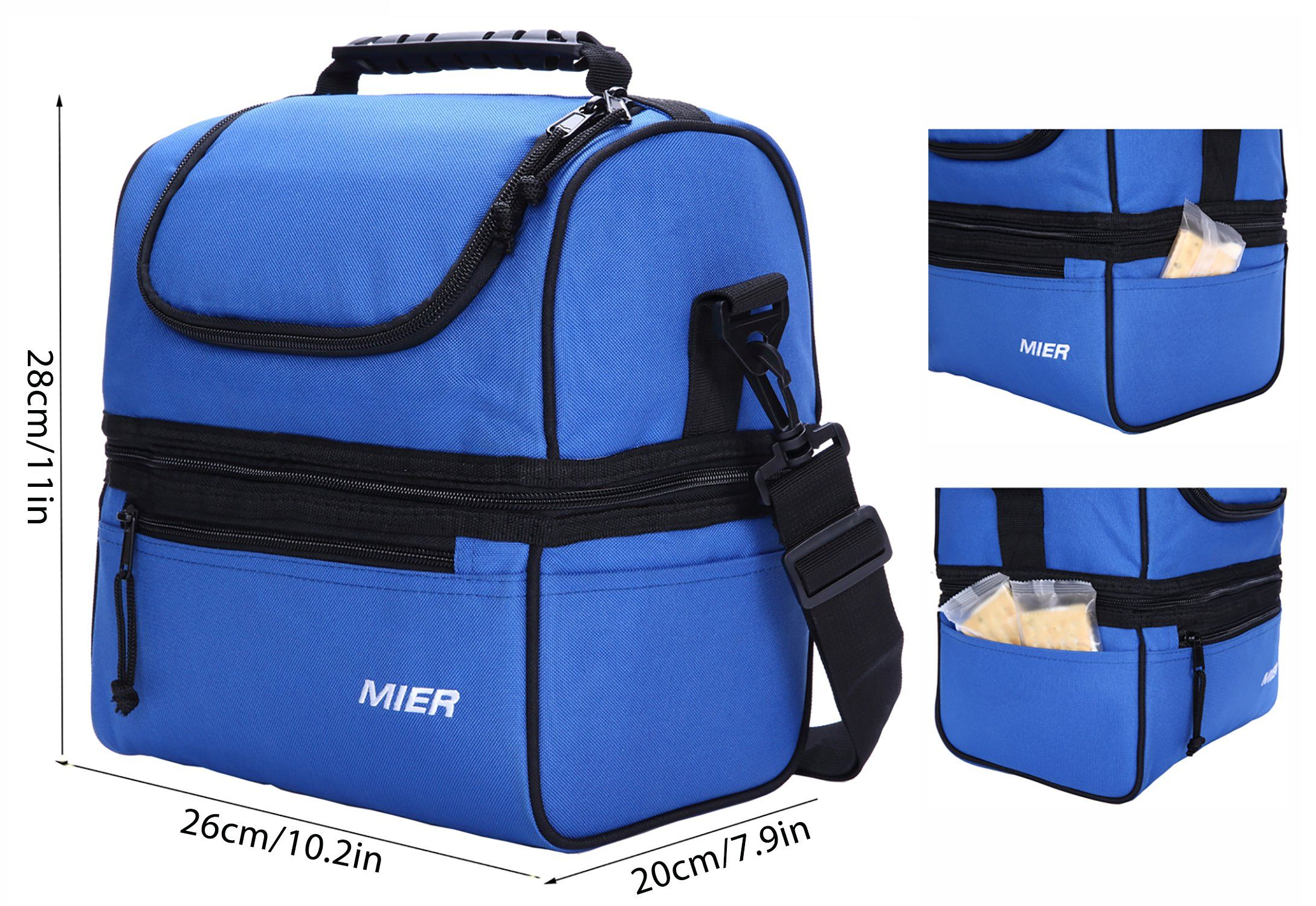 MIER Insulated Lunch Box Large Cool Tote Bag Kit for Men Women Double Deck..