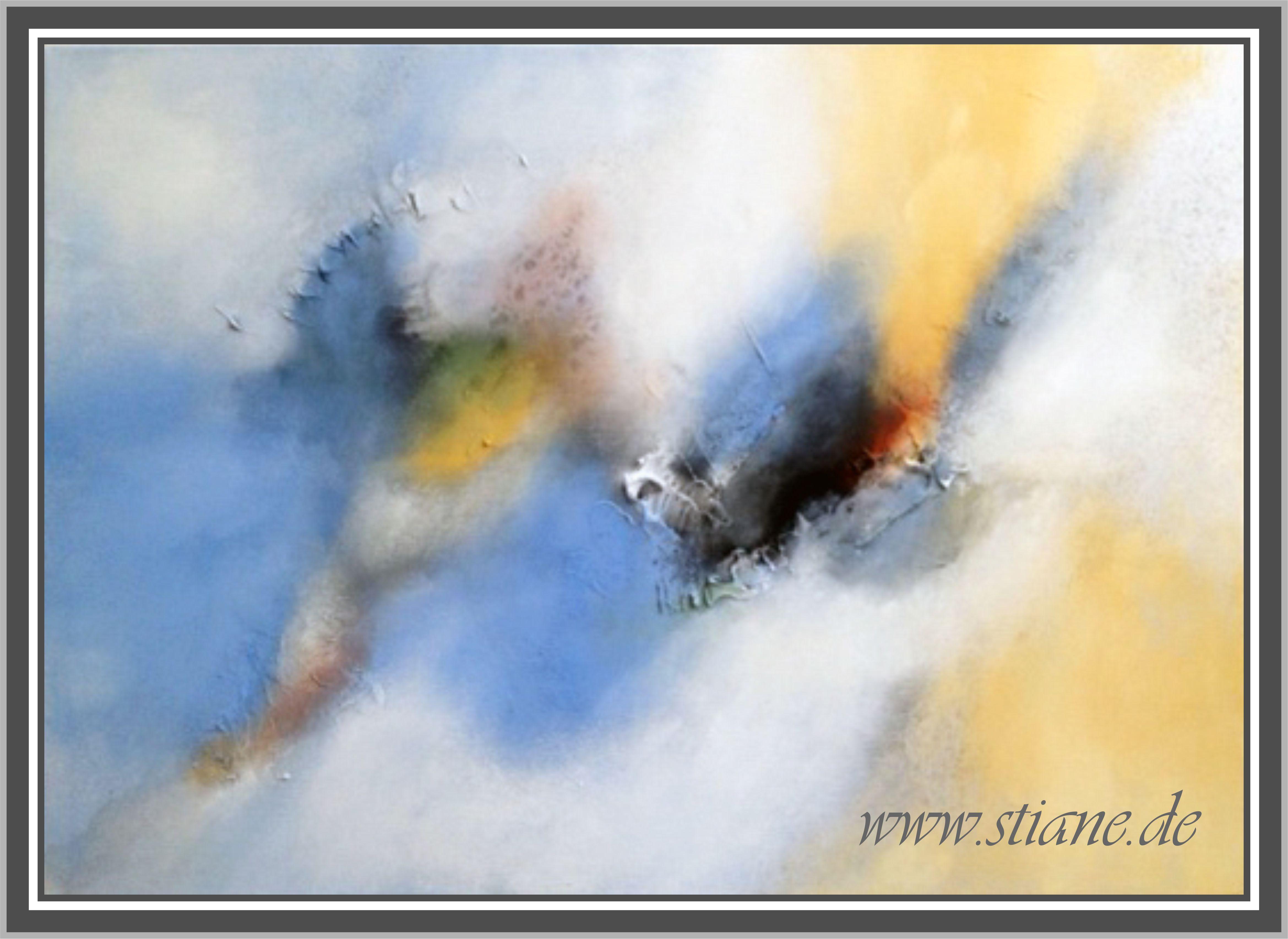 Eiszeit, 100 x 70 cm . Abstrakte Kunst auf Leinwand. Mischtechnik mit Naturfarben.