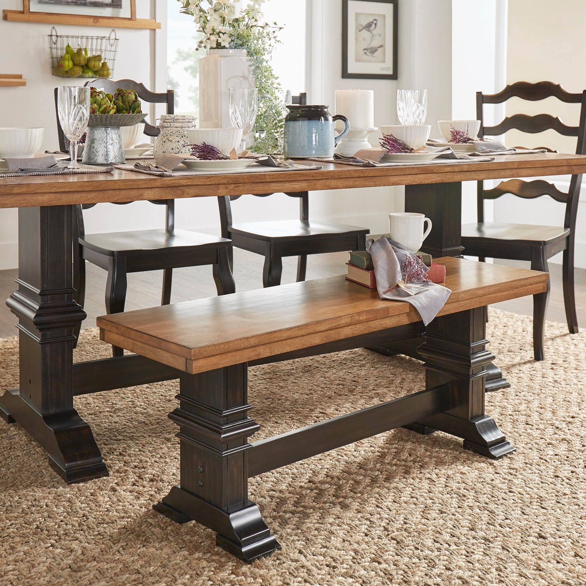 Eleanor Two Tone Trestle Leg Wood Dining Bench By Tribecca Home (Oak Top And