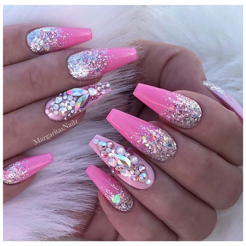 Pink Barbie Ombr Glitter Nails By Margaritasnailz From Nail Art