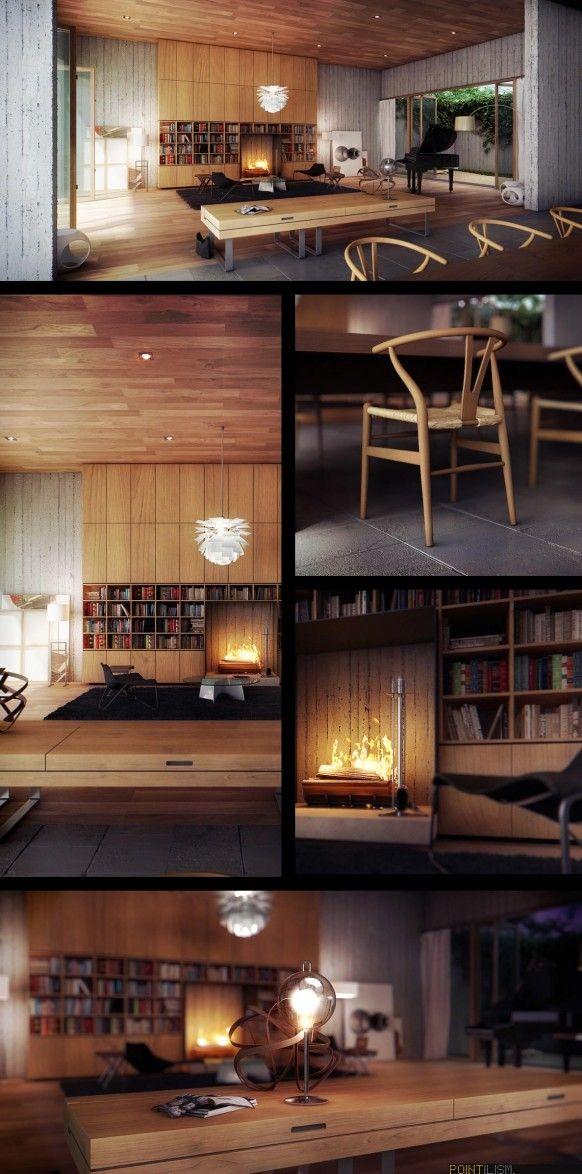 Modern living room wood and my favourite artichoke light