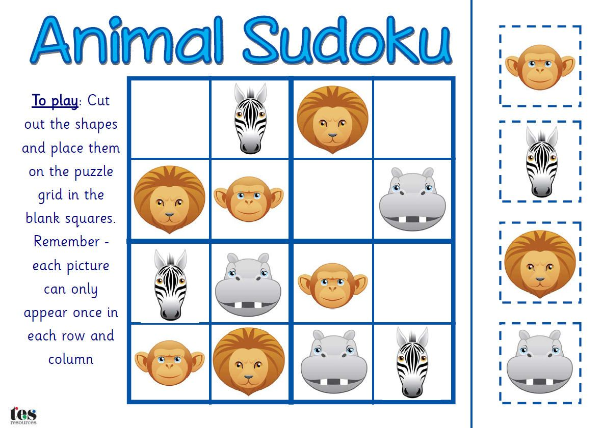 Sudoku Style Activities That Use Simple Animal Images