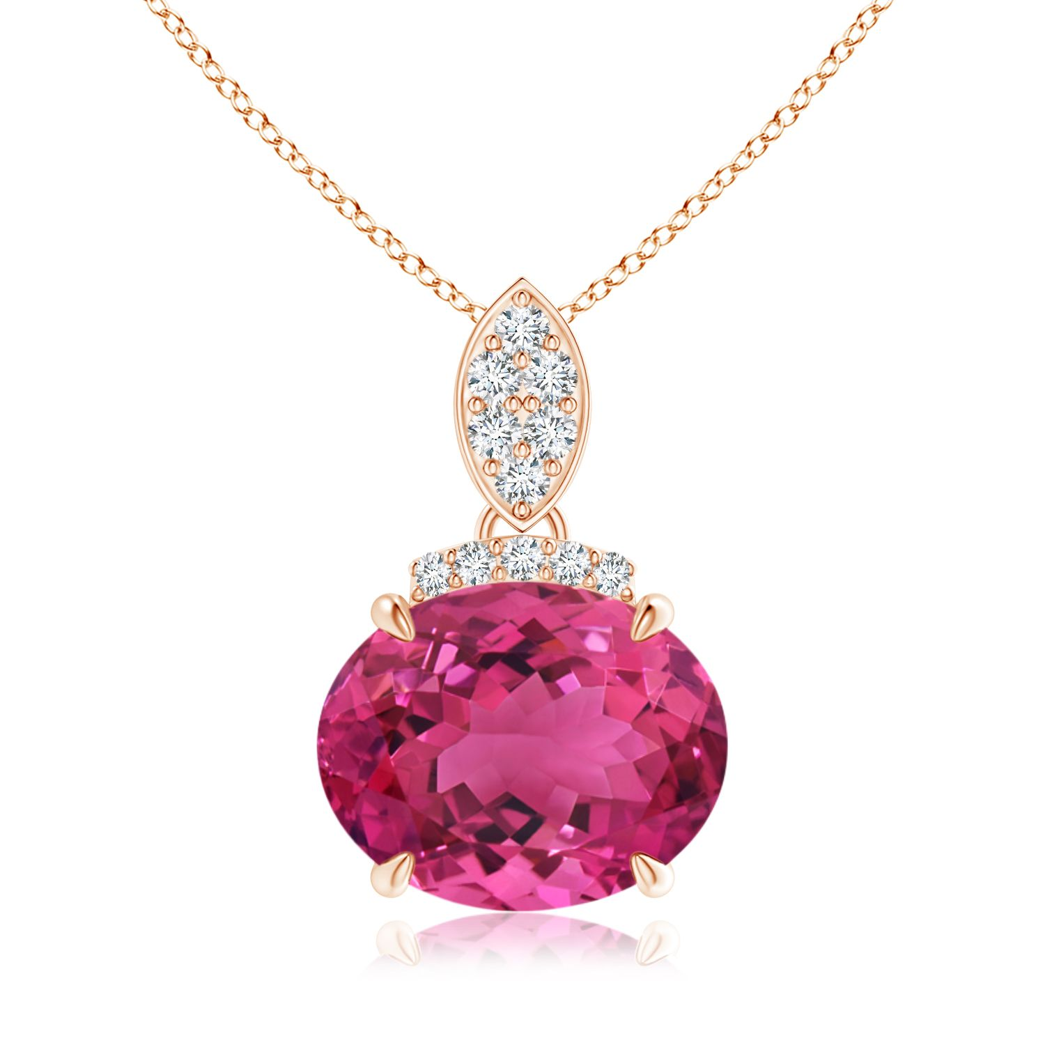 Angara Pear Natural Pink Tourmaline Necklace in Platinum yikfY