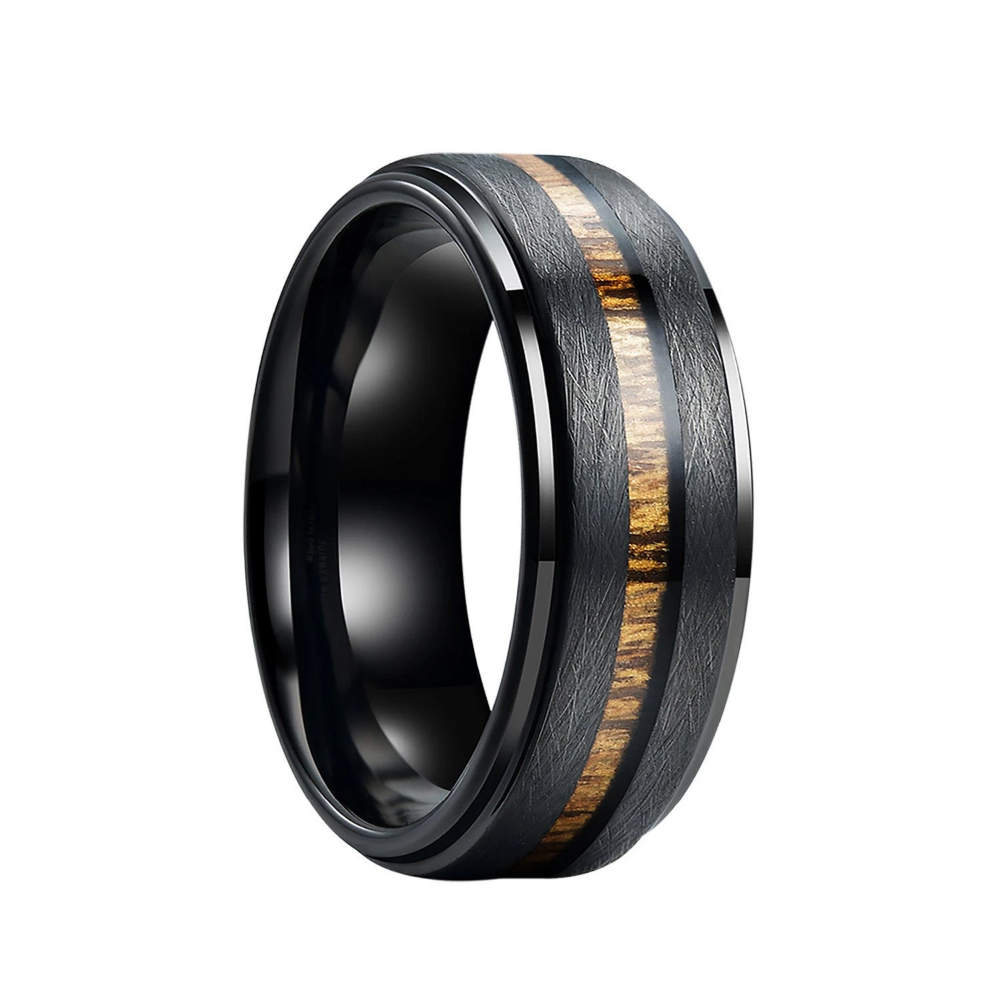 Black Tungsten Wedding Band With Real Wood Inlay Stepped