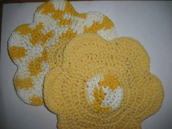 Hey, I found this really awesome Etsy listing at https://www.etsy.com/listing/204075598/handmade-crocheted-flower-dish-cloth-set