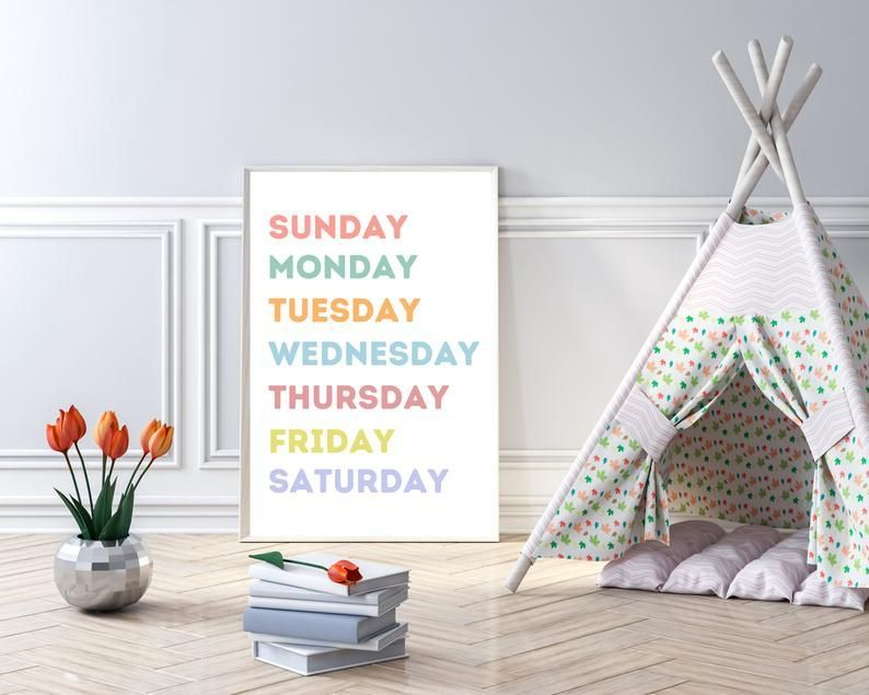 This pastel Days of the Week poster is perfect as nursery decor, kids room decor, playroom decor or classroom decor. This educational poster would also be perfect for homeschool decor.  #etsyseller #etsyshopowner #classroomdecor #kidsroomdecor #playroomdecor #homeschooldecor #kidsdecor #daysoftheweek #pasteldecor #pastelnursery