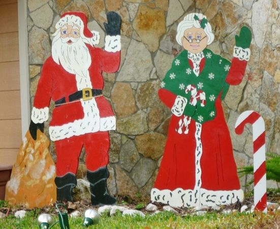 Outdoor santa and mrs claus christmas wooden yard