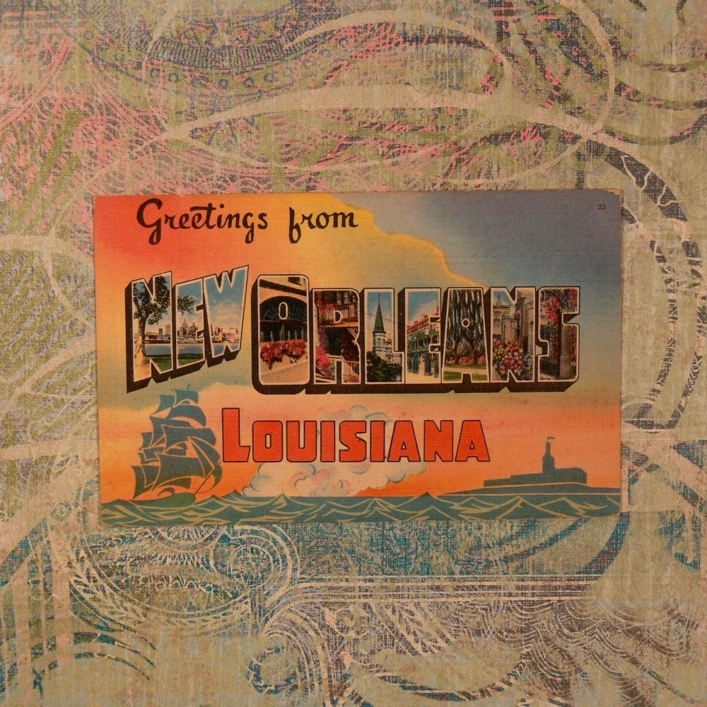 Greetings From New Orleans Vintage Handcolored Postcard Lake