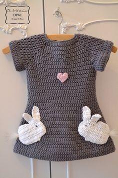 Mädchen Kleid Verliebte Hasen Häkelanleitung PDF #vestidosparabebédeganchillo