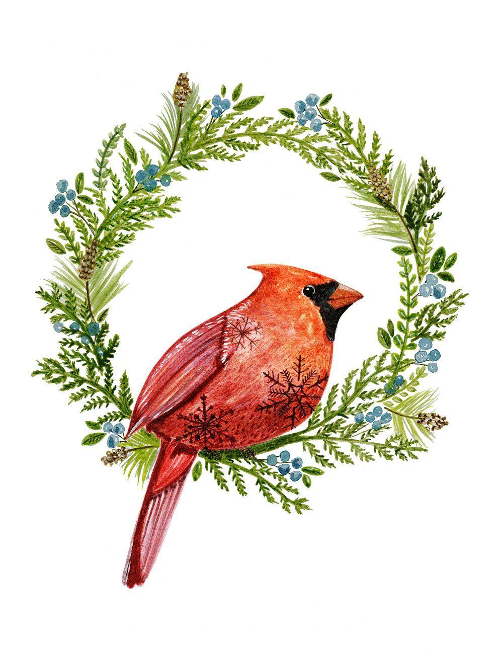 Cardinal Art Print, Bird Art, Floral Art, Woodland Art, Watercolor, Illustration by LindsayBrackeen on Etsy https://www.etsy.com/listing/259572527/cardinal-art-print-bird-art-floral-art