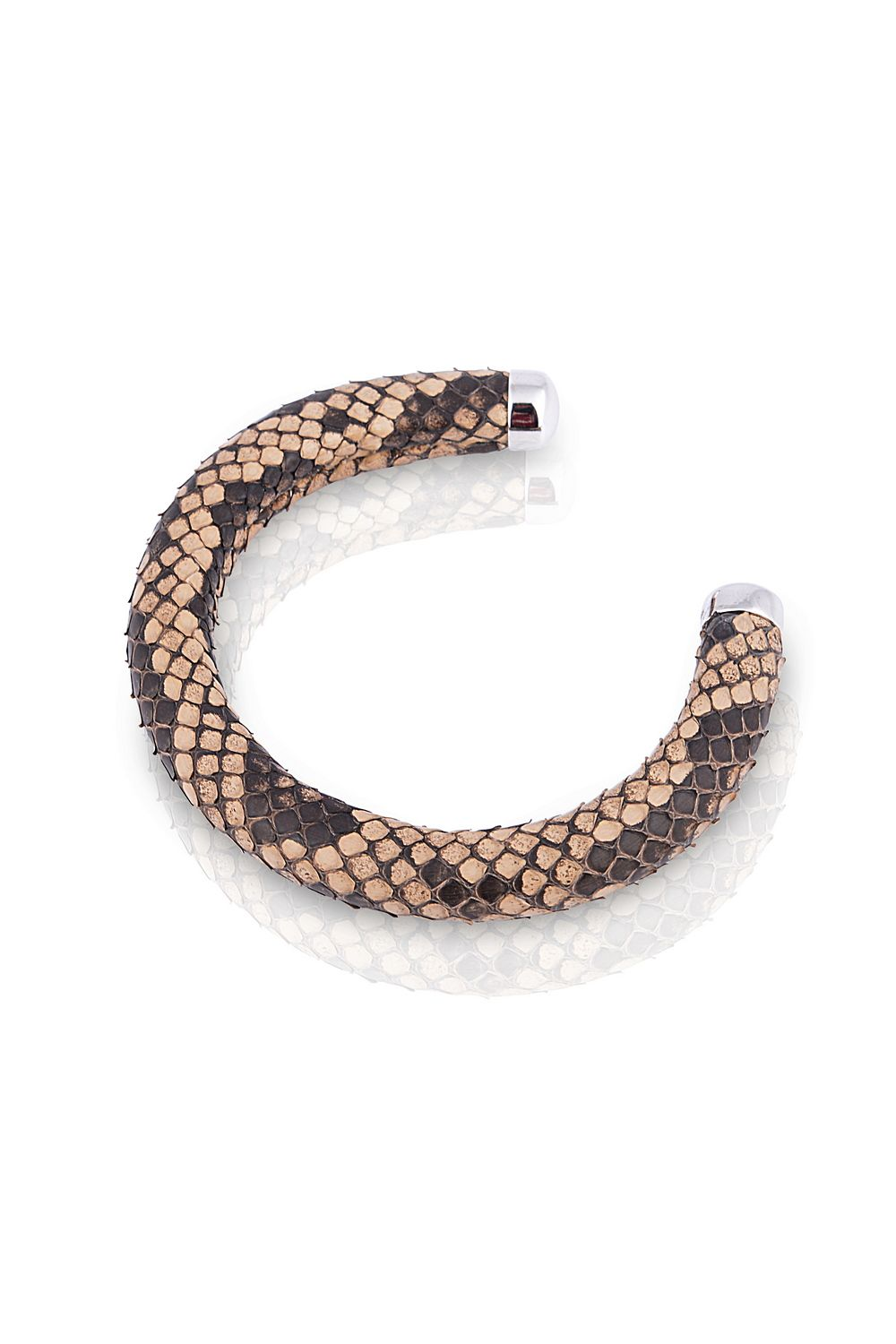 Round rigid bracelet in molurus python and silver ends (AKN026 ...