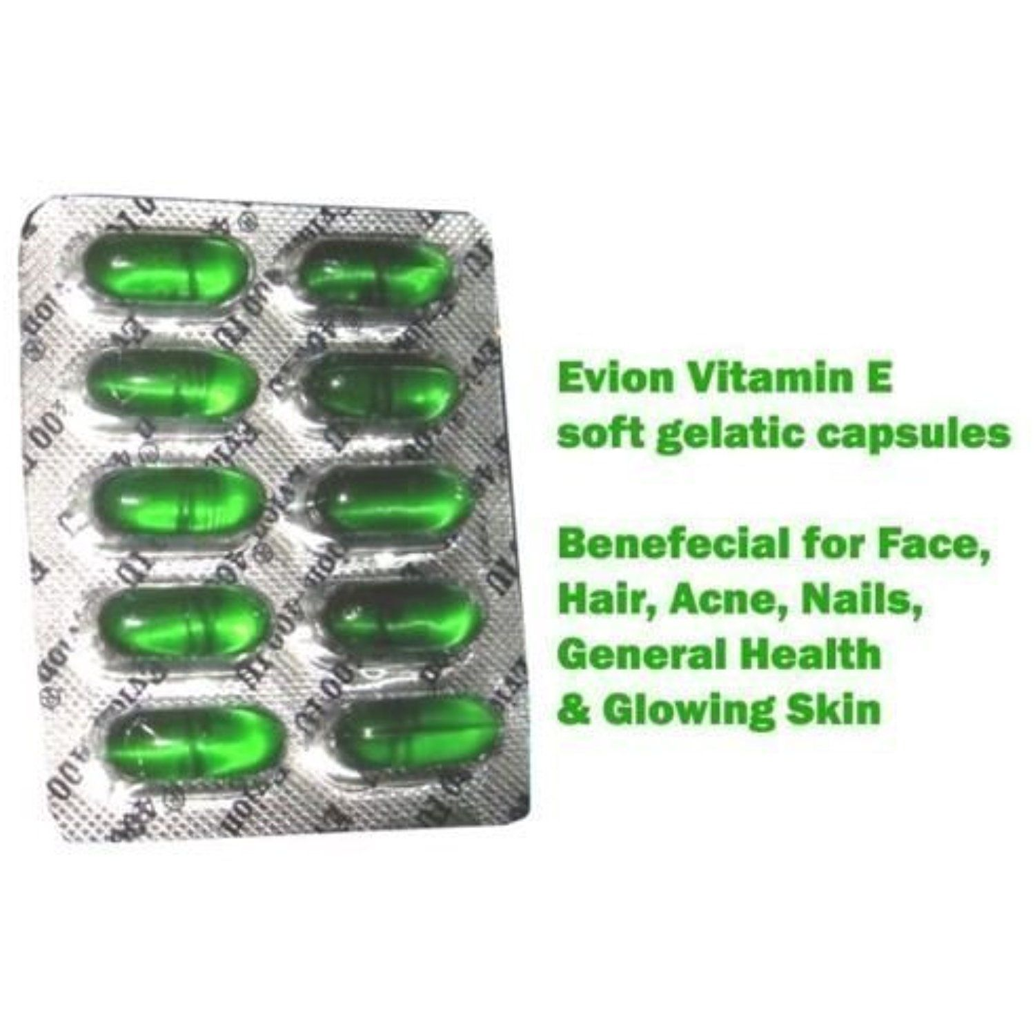 100 Evion Vitamin E Capsules For Face Hair Acne Nails General Health Glowing Skin 400mg To View F Vitamin E For Face Vitamins For Hair Loss Hair Skin Nails