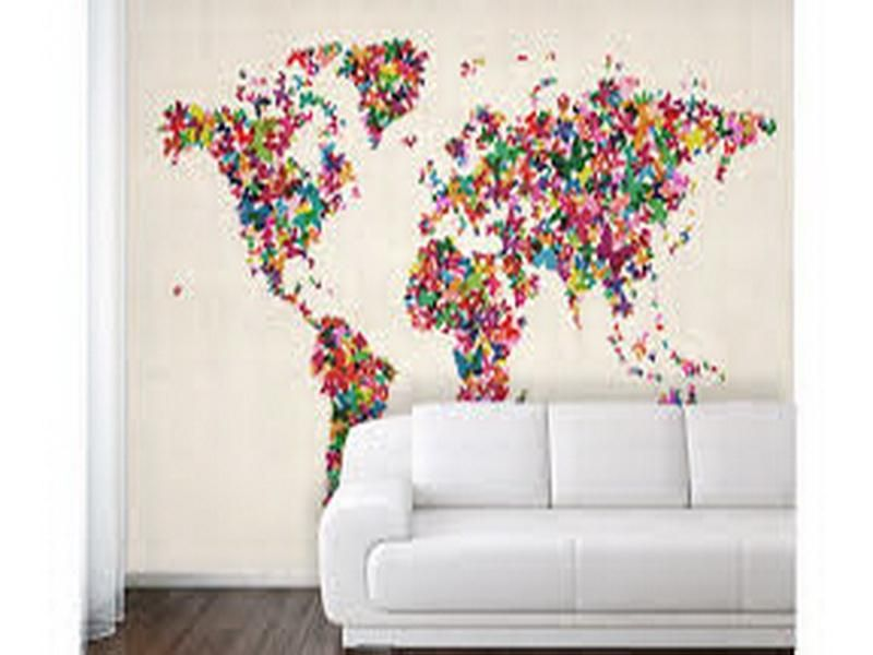 Colorful World Map Wallpaper For Walls