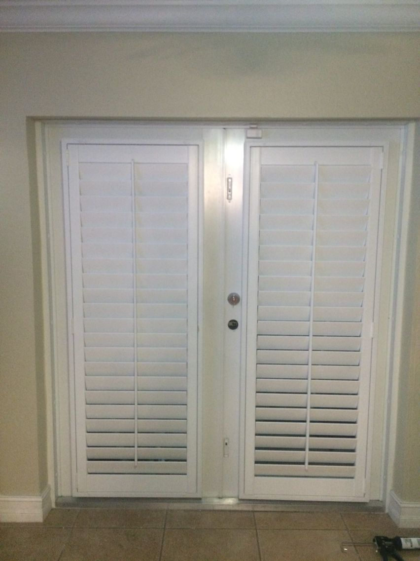 "Double French Doors with 3.5"" Louver Plantation Shutters"