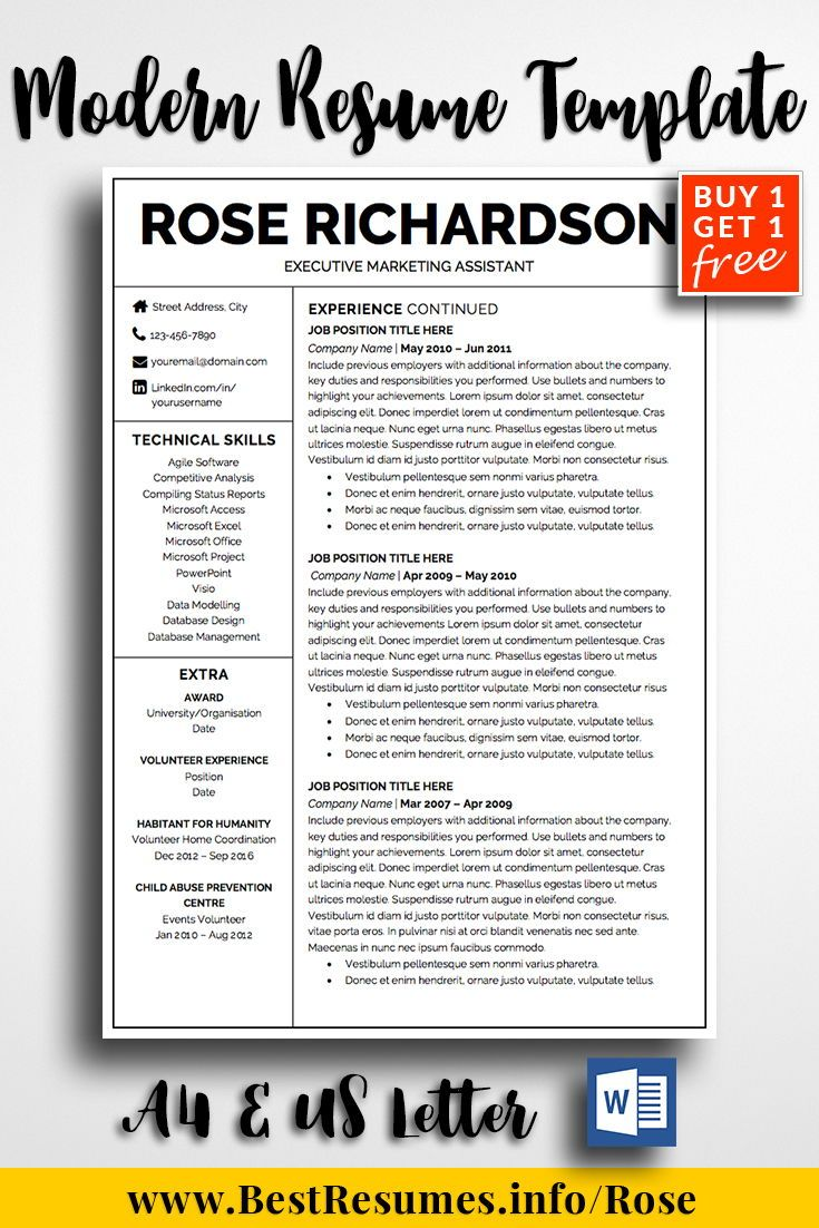 resume template rose richardson