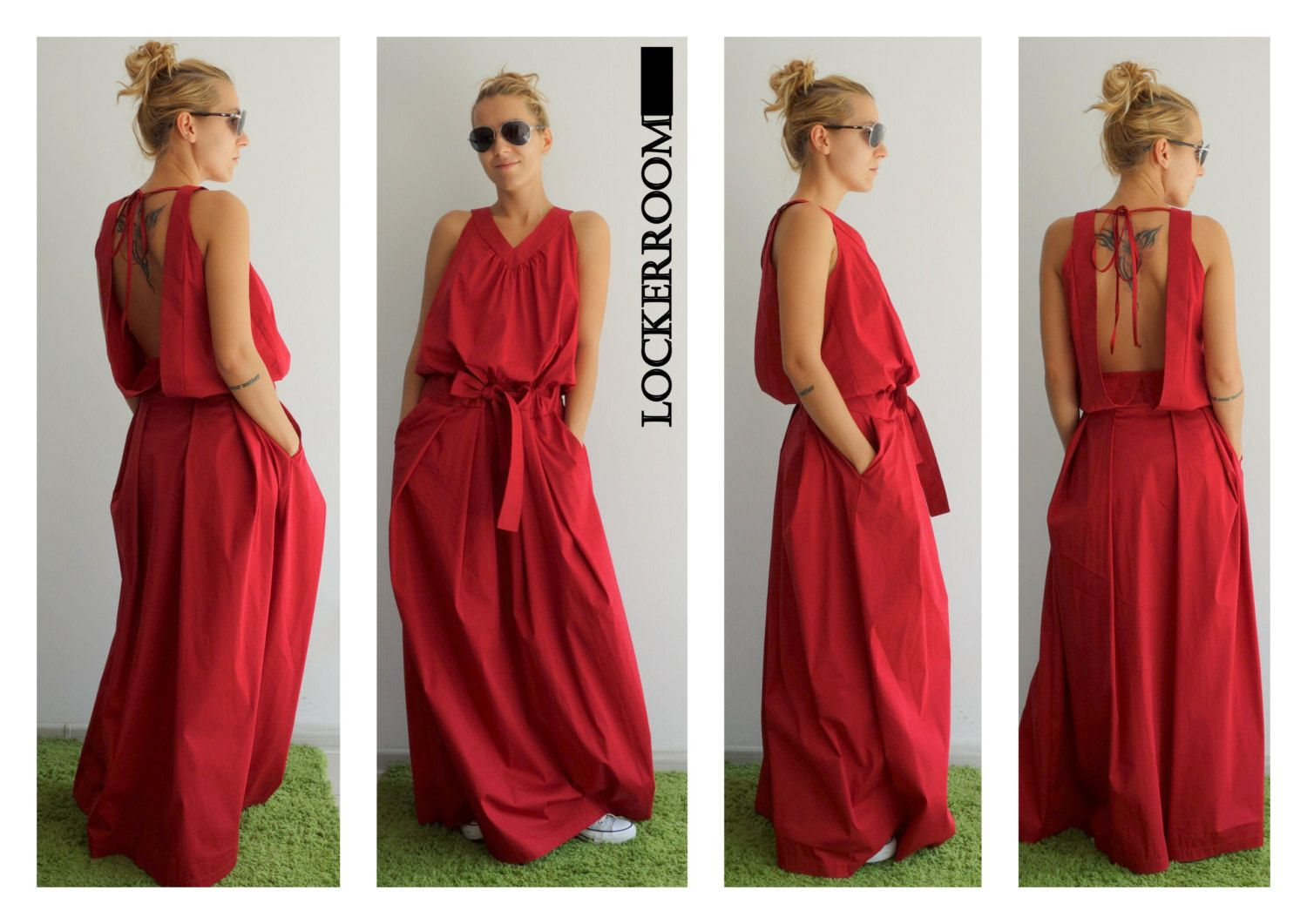Maxi dress / Red Long Dress / Red Oversize by ClothesByLockerRoom