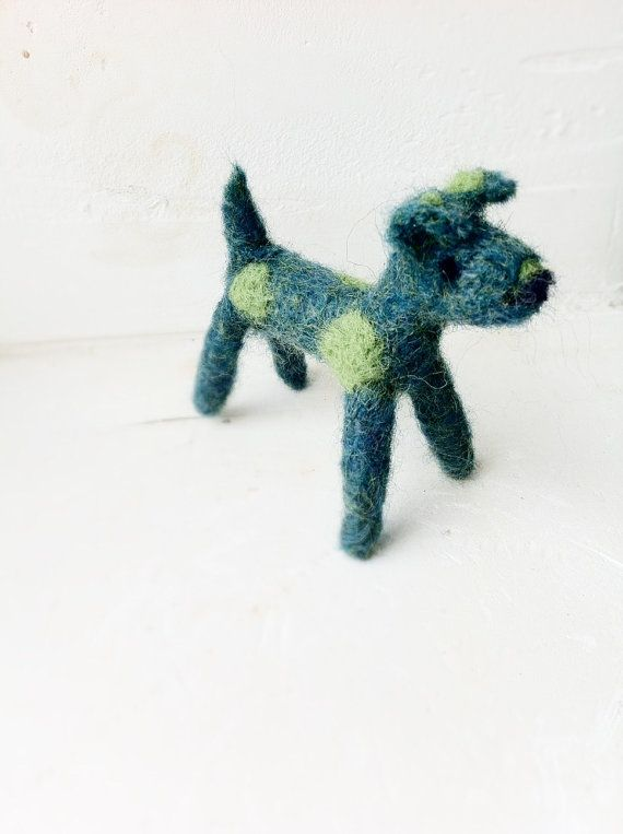 Dog wool green Needlefelted small terrier by snoopynjess on Etsy, $15.00