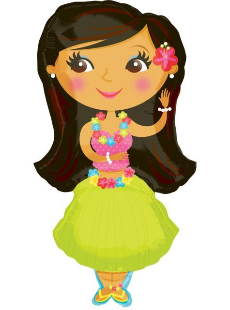foil hula girl balloon group costumes theme parties categories rh pinterest com hawaiian hula girl clipart hula girl clipart black and white