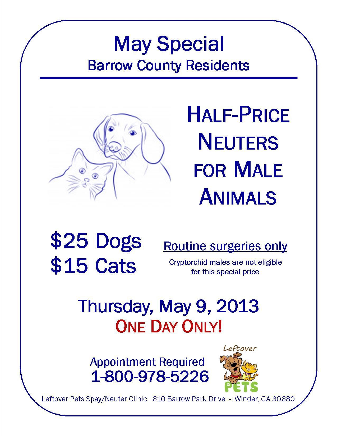 HalfPrice Neuters for male animals. Leftover Pets, 610