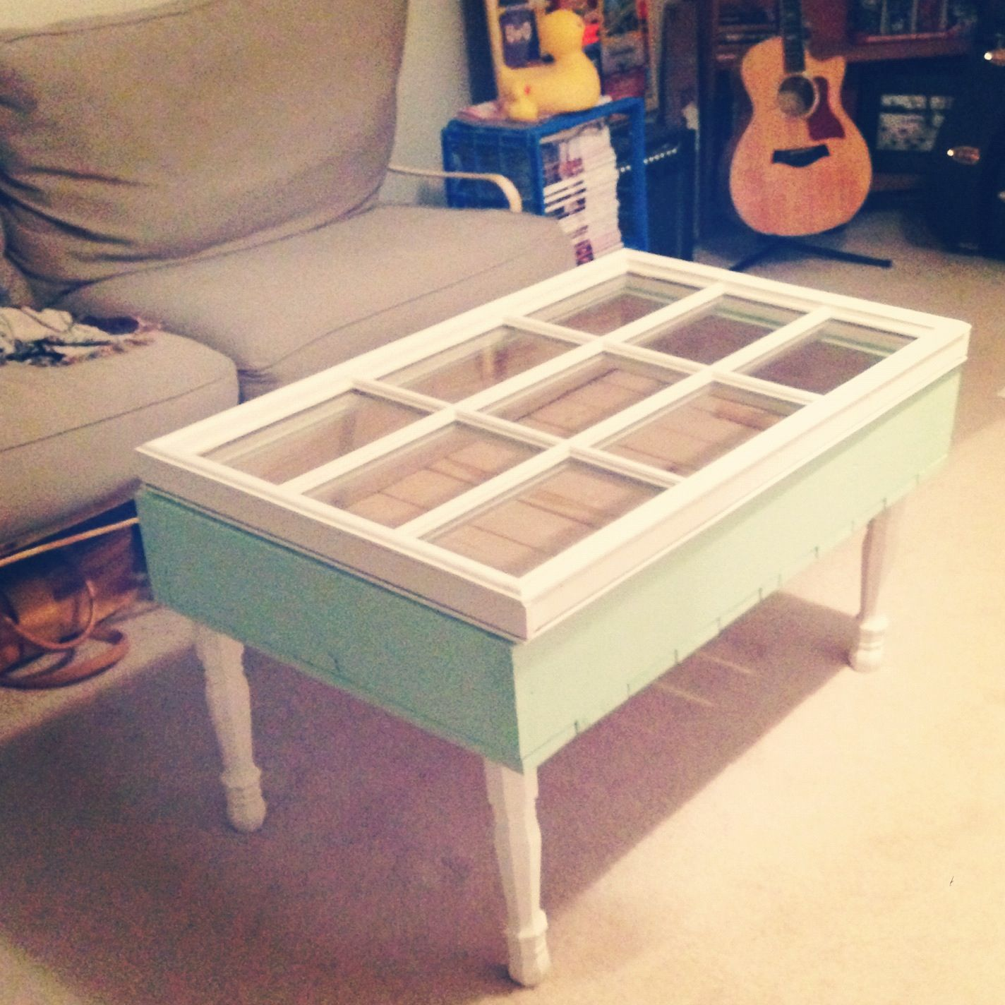 Boyfriend made me this coffee table out of an old window