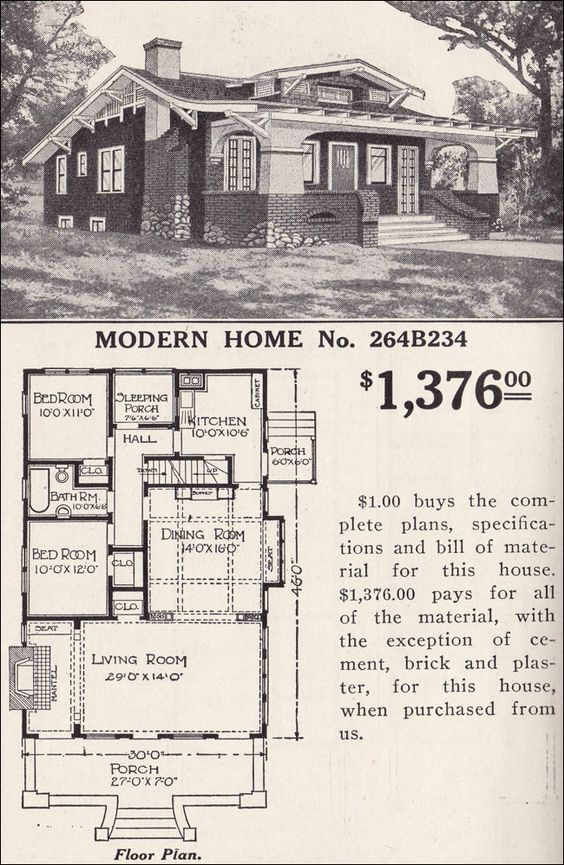Classic Craftsman Bungalow Sears Modern Home No 264b234 Inglenook Hollywood Vintage House Plans Craftsman Bungalows Craftsman House